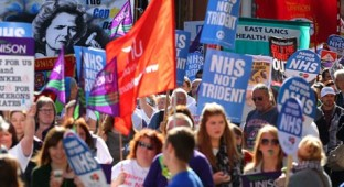 50,000 march against austerity in London, BBC doesn't notice
